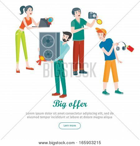 Supermarket sale man and woman happy. Household appliances in flat style. For electronics stores advertising. Purchase equipment for every day use. Devices with red discount tags. Black friday. Vector