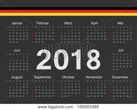 Vector Black German Circle Calendar 2018
