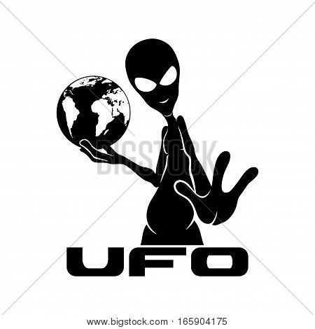 Sign of alien on a white background.