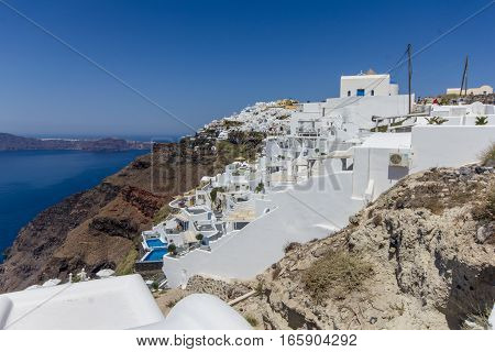 Santorini Greece - 12  August 2016: Santorini island at the sunset. A viewpoint from Imerovigli village in Greece