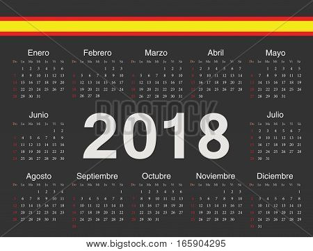 Vector Black Spanish Circle Calendar 2018