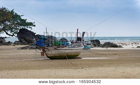 fishing boat on the beach Thailand .