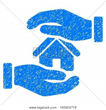 Realty Insurance grainy textured icon for overlay watermark stamps. Flat symbol with dust texture. Dotted vector blue ink rubber seal stamp with grunge design on a white background.