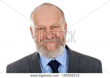 Portrait of an elegant elderly man posing on an isolated background