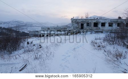 Abandoned settlement in Northern Kolyma winter view