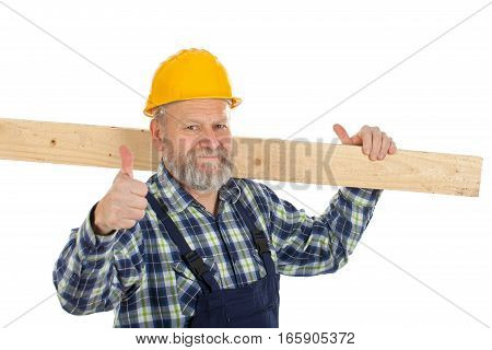 Picture of a confident engineer holding a lath showing thumbs up