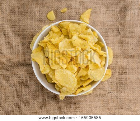 Portion Of Potato Chips (sour Cream Taste)