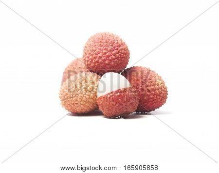 Fresh lychee fruits isolated on white background