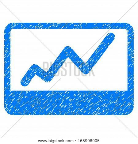 Stock Market grainy textured icon for overlay watermark stamps. Flat symbol with dust texture. Dotted vector blue ink rubber seal stamp with grunge design on a white background.