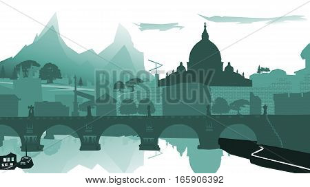 Sunset cityscape. illustration.Outline City Skyscrapers. Business and tourism concept with .