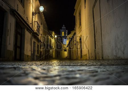 Night lonely streets of Lagos, Algarve, Portugal
