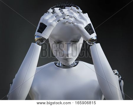 3D rendering of a female robot looking very sad. Dark background.