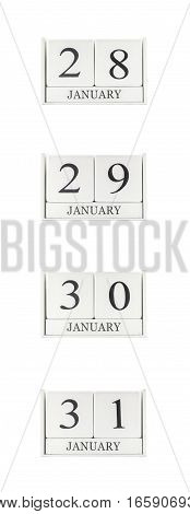 Closeup group of white wooden calendar with black 28 29 30 31 january word three date calendar isolated on white background