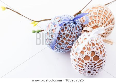 Holiday Three Easter Eggs In Knitted Bags