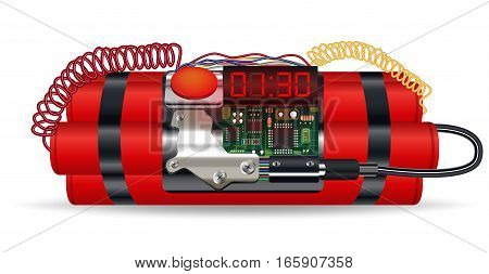 red dynamite pack with electric time bomb