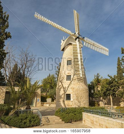 Montefiore windmill, Jerusalem. It is a famous museum and public domain in Israel