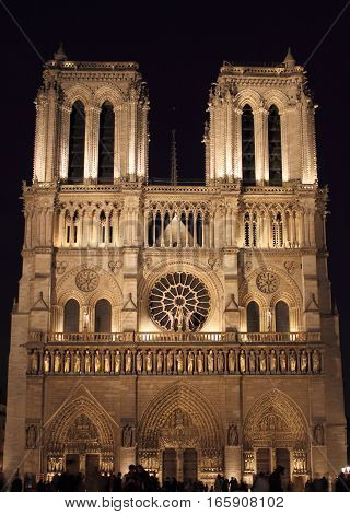 Notre Dame Cathedral by night. Paris, France