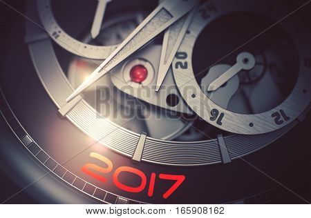 Automatic Watch Machinery Macro Detail with Inscription 2017. Fashion Pocket Watch with 2017 on Face, Symbol of Time. Time and Business Concept with Lens Flare. 3D Rendering.