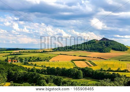 View of the landscape of the Czech Central Mountains, Czech Republic