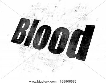Health concept: Pixelated black text Blood on Digital background