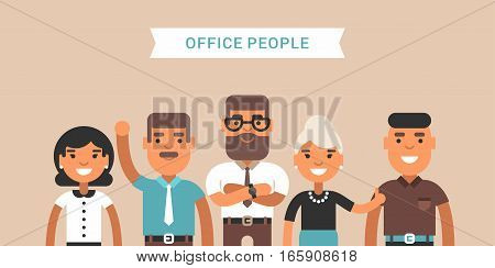 Office people. Team of employees. Colored flat vector illustration. Teambuilding concept.