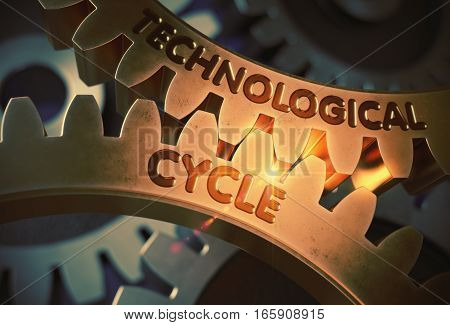 Technological Cycle on the Mechanism of Golden Gears. Technological Cycle on Mechanism of Golden Metallic Gears with Glow Effect. 3D Rendering.