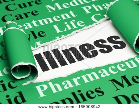 Health concept: black text Illness under the curled piece of Green torn paper with  Tag Cloud, 3D rendering