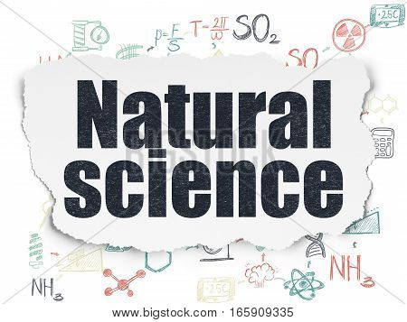 Science concept: Painted black text Natural Science on Torn Paper background with Scheme Of Hand Drawn Science Icons