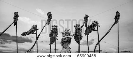 BANGKOK, THAILAND - FEBUARY 20: A group of people perform a lion dance during Chinese new year's celebration