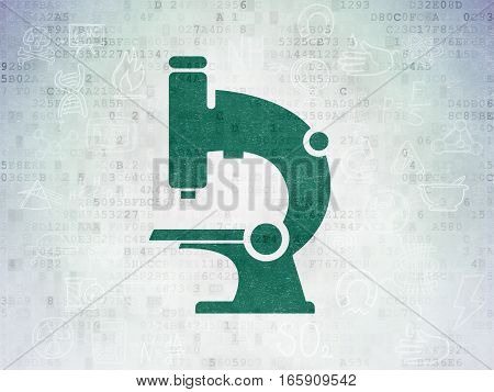Science concept: Painted green Microscope icon on Digital Data Paper background with Scheme Of Hand Drawn Science Icons