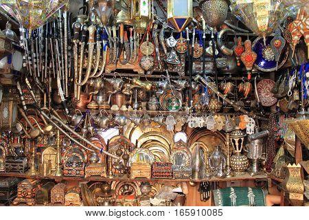 A copper artisans shop in Fes, Morocco