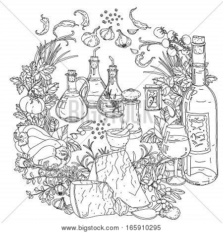 contoured wreath of vector italian cuisine elements. Hand drawn. Black and white. Italian food. Vegetables and herbs, olives and tomatoes, garlic, cheese. Detailed, contoured, zen coloring book style.