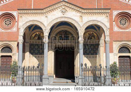 Facade of Saint Eufemia church in Milan, Italy