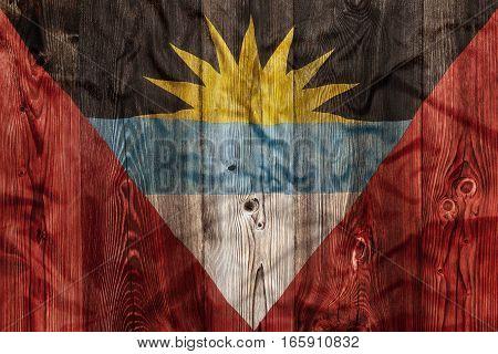 National Flag Of Antigua Barbuda, Wooden Background