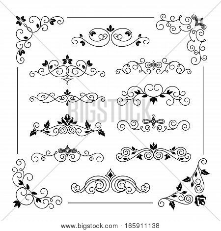 Set of vintage vector frame border dividers. Retro design elements collection