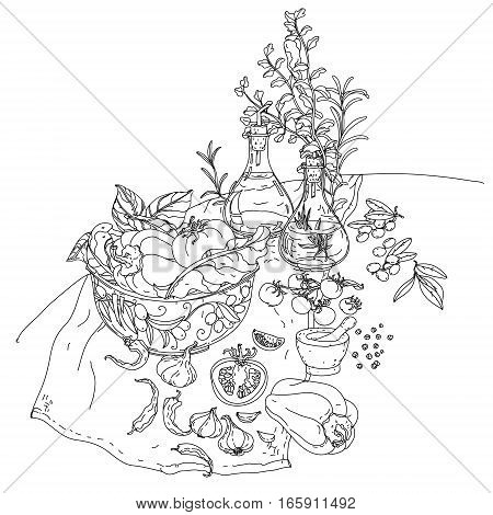 contoured still life of vector italian cuisine elements. Hand drawn. Black and white. Italian food. Vegetables and herbs, olive oil, tomatoes, garlic. Detailed, contoured, zen coloring book style.
