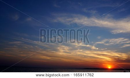 sea beach sunset with clouds . nature background