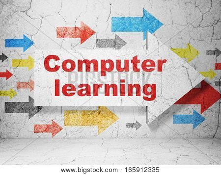 Education concept:  arrow with Computer Learning on grunge textured concrete wall background, 3D rendering