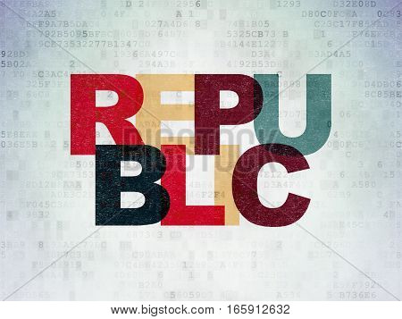 Political concept: Painted multicolor text Republic on Digital Data Paper background