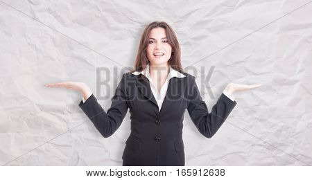 Pretty Young Female Manager With Palms Up