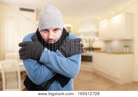 Attractive Young Male Feeling Cold