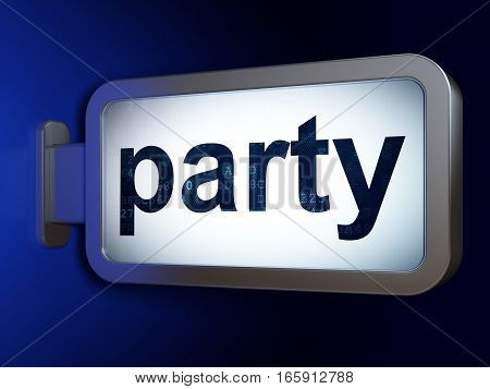Holiday concept: Party on advertising billboard background, 3D rendering