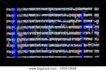 glitches distortions stripes on the LCD TV. colorful abstract background texture