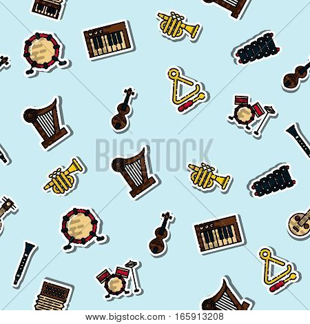 Colorful musical instrument with musical sign on light background.