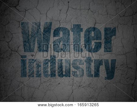 Industry concept: Blue Water Industry on grunge textured concrete wall background