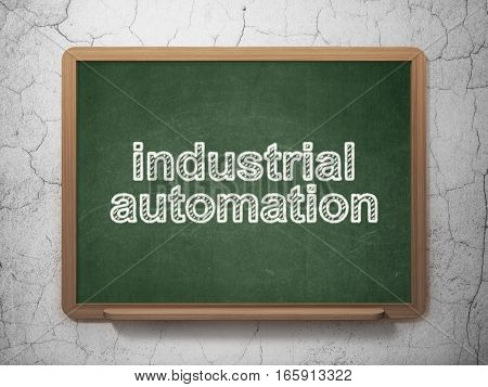 Industry concept: text Industrial Automation on Green chalkboard on grunge wall background, 3D rendering