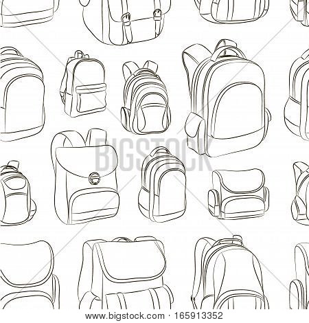 School backpacks set pattern. Education and study back to school, schoolbag luggage, rucksack vector illustration