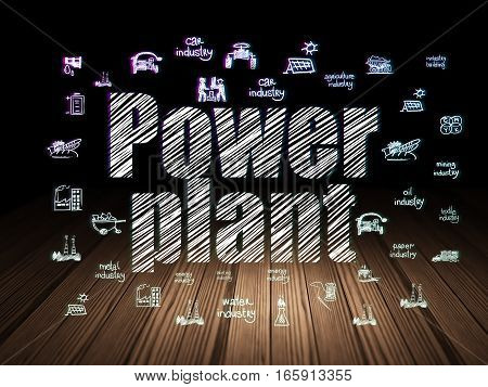 Manufacuring concept: Glowing text Power Plant,  Hand Drawn Industry Icons in grunge dark room with Wooden Floor, black background