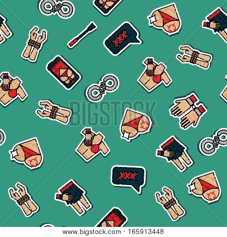 Colored sexual pattern on color background. Vector illustration, EPS 10