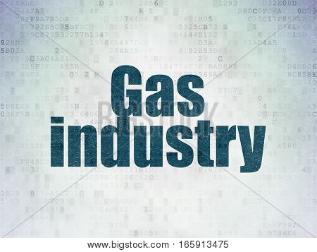 Manufacuring concept: Painted blue word Gas Industry on Digital Data Paper background
